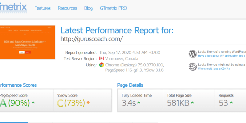 gtmetrix page speed test report for guruscoac